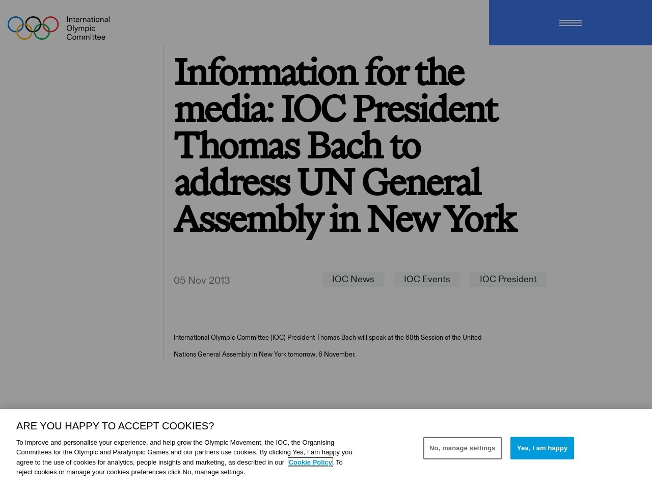 Information for the media: IOC President Thomas Bach to address UN General …