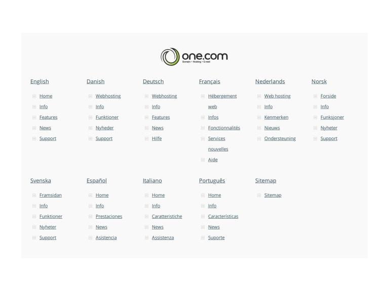 One.com screenshot