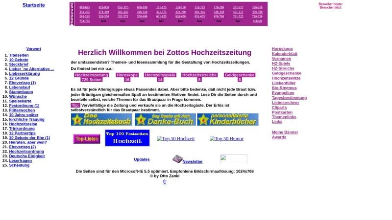 www.online-hochzeitszeitung.de Vorschau, Zottos Hochzeitszeitung
