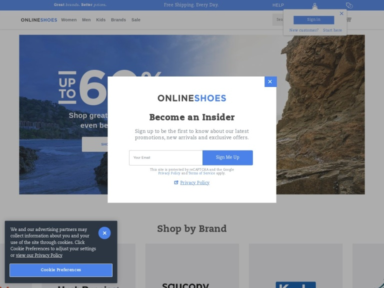 Onlineshoes.com screenshot