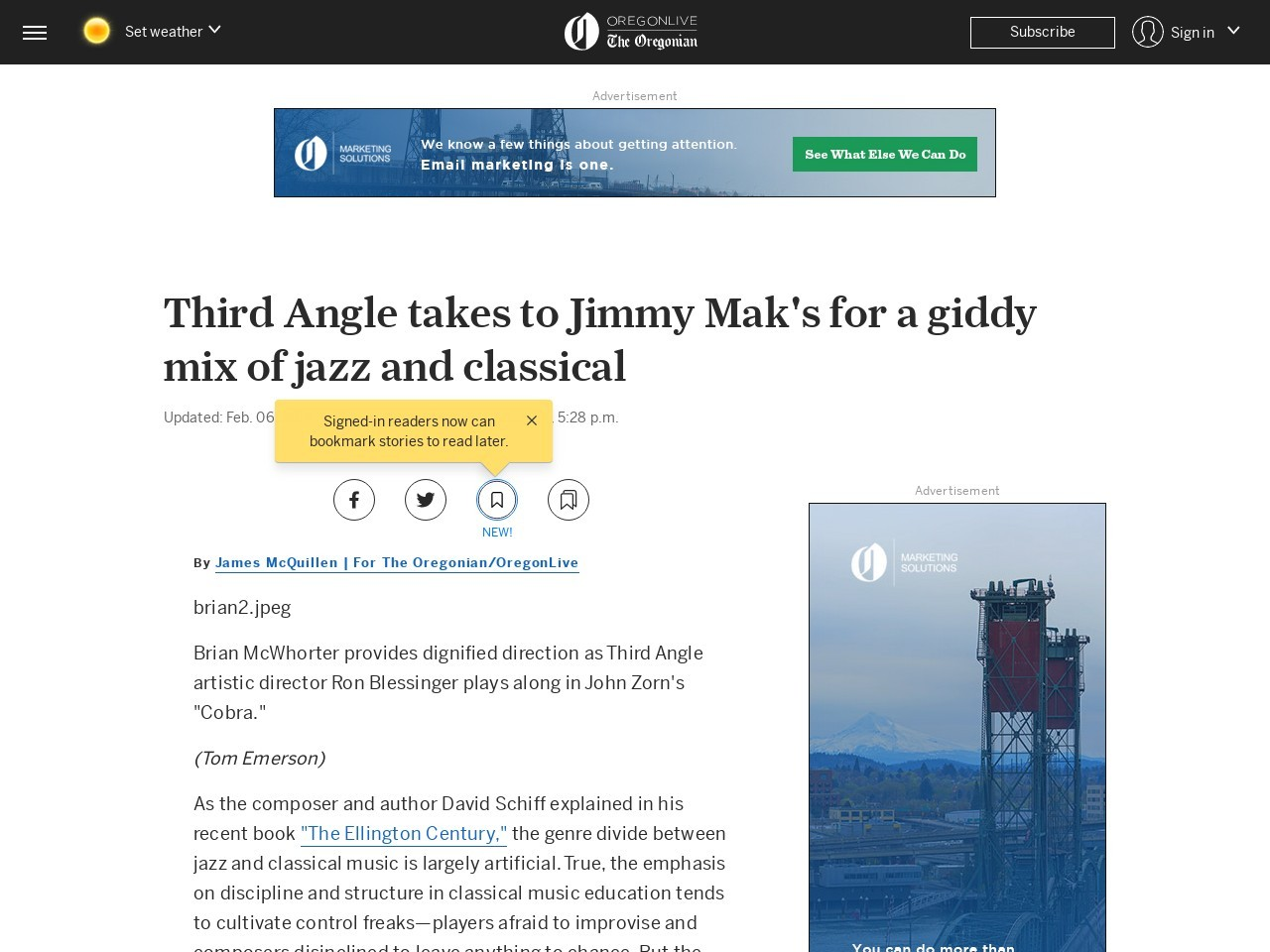Third Angle takes to Jimmy Mak's for a giddy mix of jazz and classical