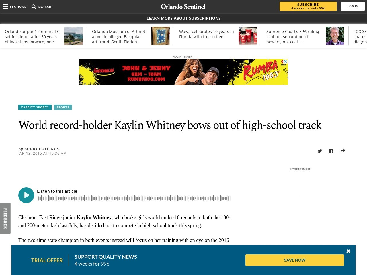 World record-holder Kaylin Whitney bows out of high-school track