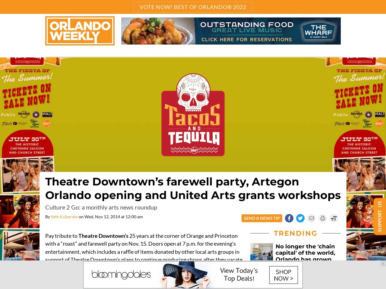 Theatre Downtown's farewell party, Artegon Orlando opening
