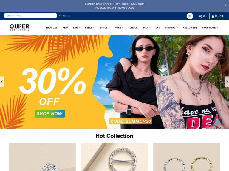 OUFER BODY JEWELRY Coupon Codes & Promo codes