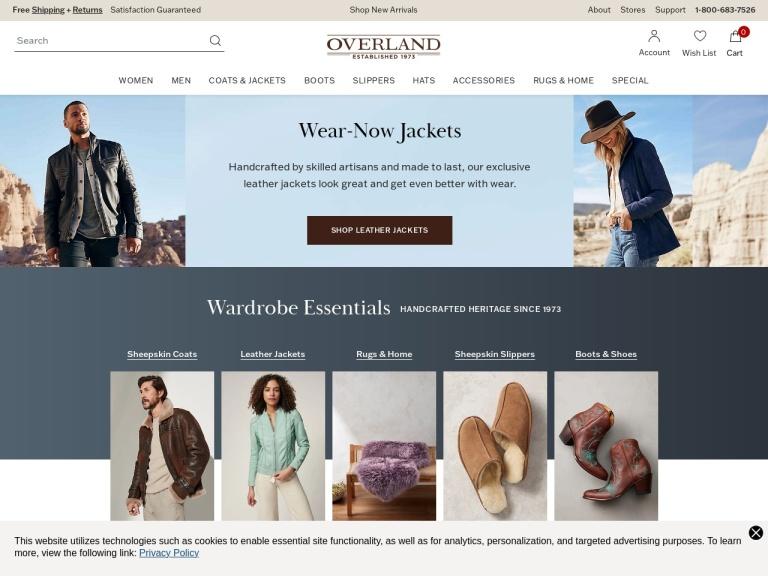 Overland.com screenshot