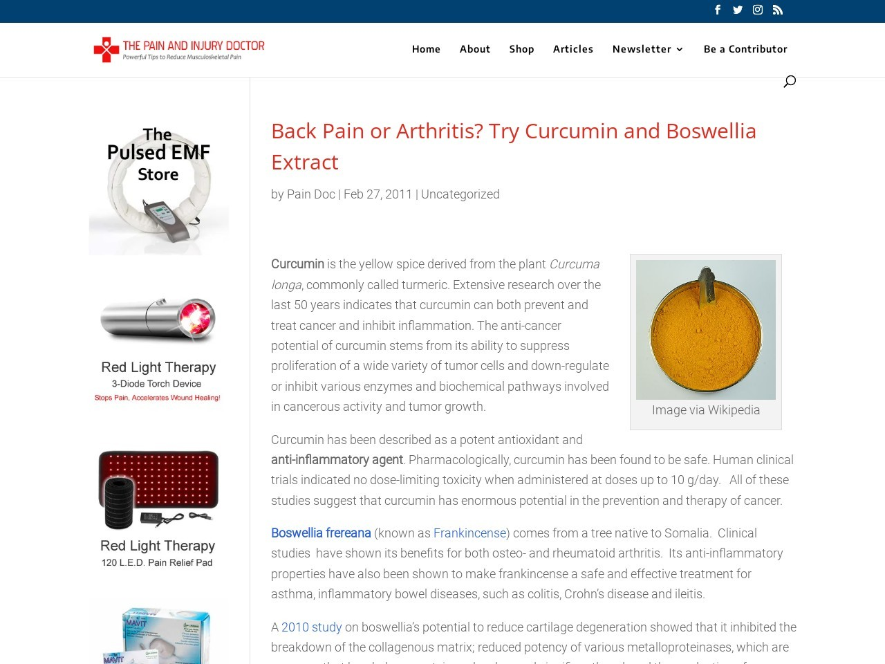 Back Pain or Arthritis? Try Curcumin and Boswellia Extract