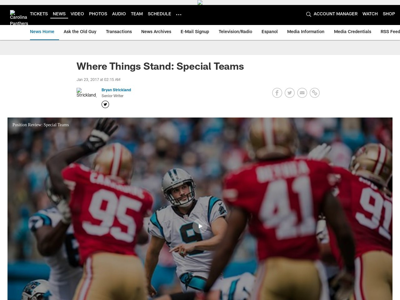 Where Things Stand: Special Teams
