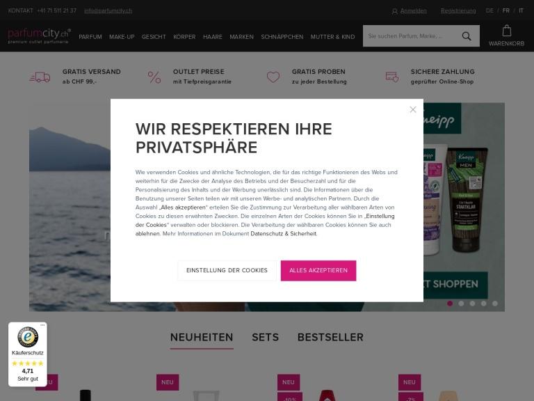 Parfumcity.ch screenshot