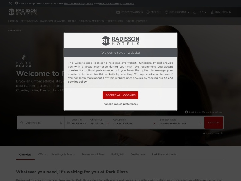 Park Plaza Hotels screenshot