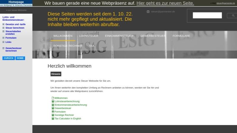 www.parmentier.de Vorschau, Einkommensteuertabelle als EXCEL Mappe