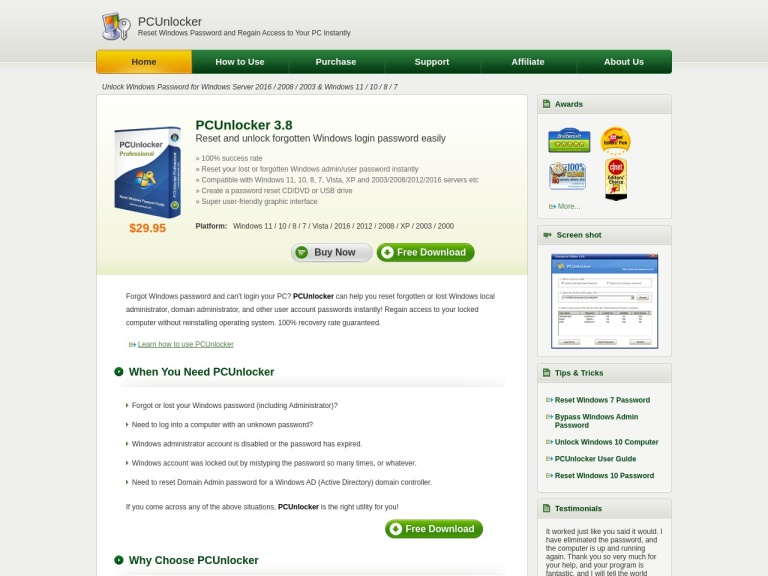 PCUnlocker Professional Coupons & Discounts May 2021 screenshot