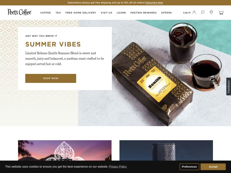 Peet's Coffee screenshot