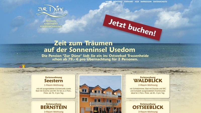 www.pension-zur-duene.de Vorschau, Pension Zur Düne; Inhaber: Dilk und Partner GbR