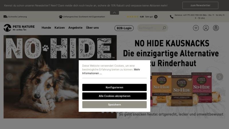 www.petsnature.de Vorschau, petsnature.de - Leckeres Tierfutter für Hund und Katze