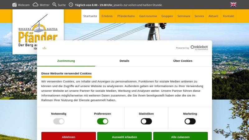 www.pfaender.at Vorschau, Pfänder 1063 m