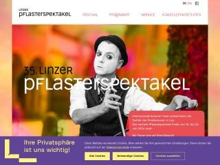 Screenshot der Website pflasterspektakel.at