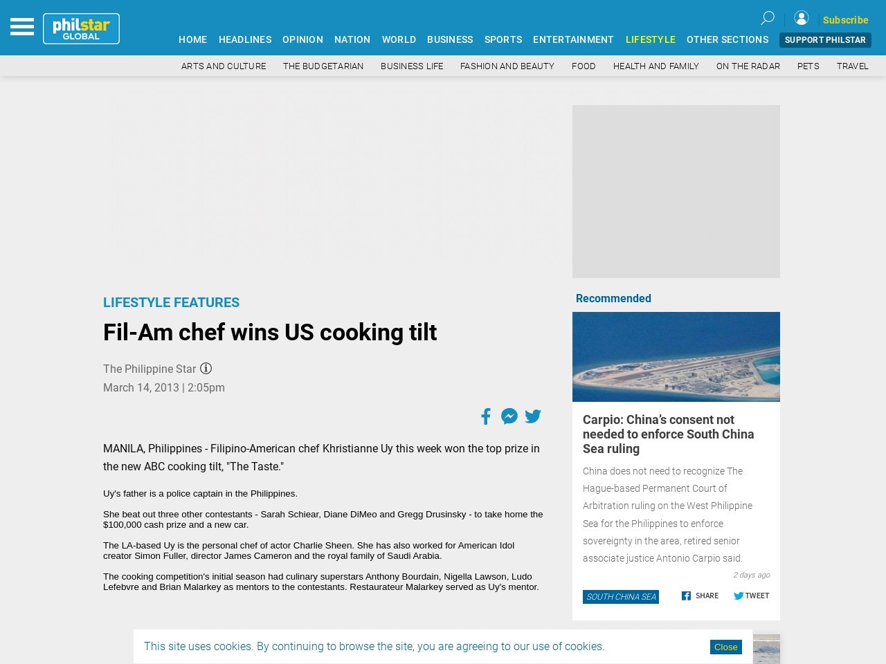 Fil-Am chef wins US cooking tilt