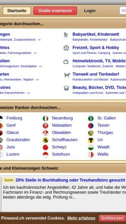 Vorschau der mobilen Webseite www.pinwand.ch, Pinwand.ch
