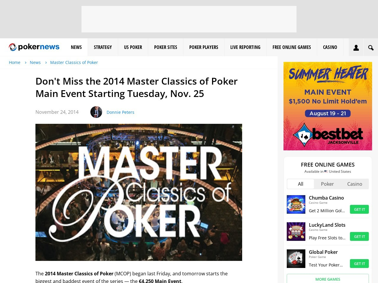 Don't Miss the 2014 Master Classics of Poker Main Event Starting Tuesday, Nov …