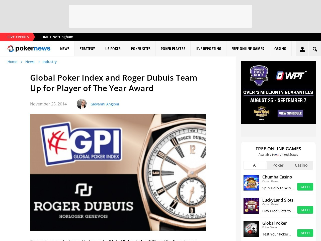 Global Poker Index and Roger Dubuis Team Up for Player of The Year Award