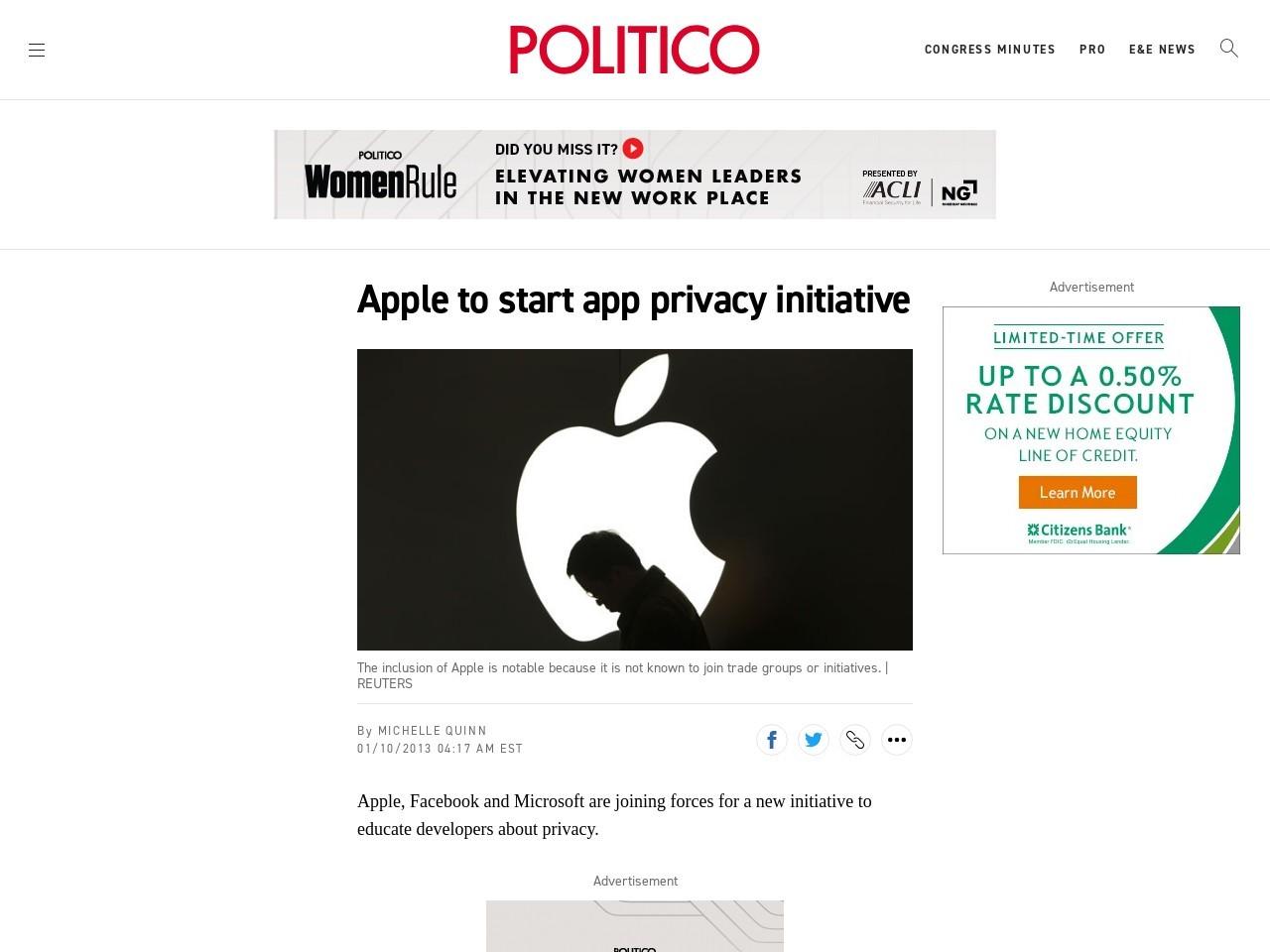 Apple, Facebook, Microsoft to start app privacy initiative