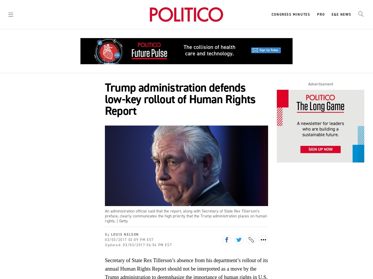 Trump administration defends low-key rollout of Human Rights Report