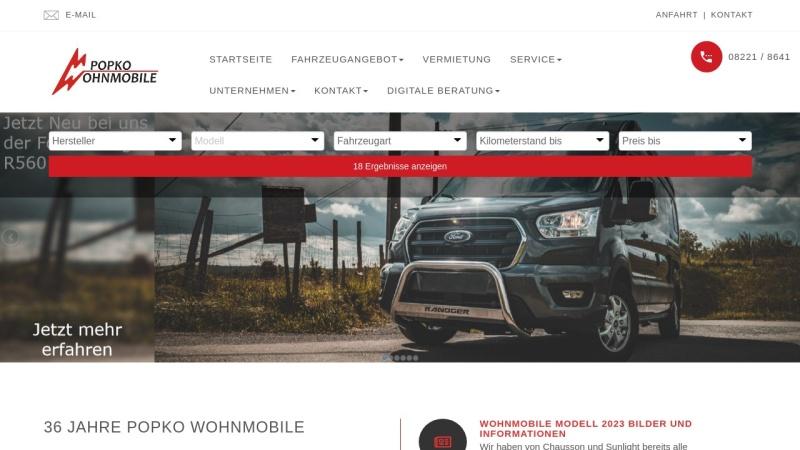 www.popko-wohnmobile.de Vorschau, Popko Wohnmobile