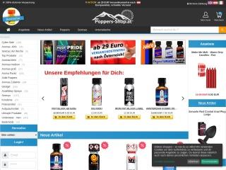 Screenshot der Website poppers-shop.at