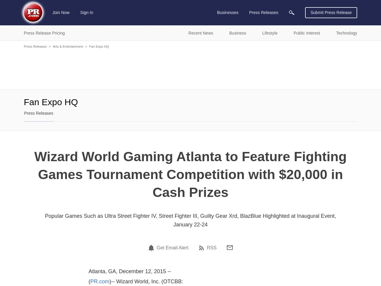 Wizard World Gaming Atlanta to Feature Fighting Games Tournament Competition …