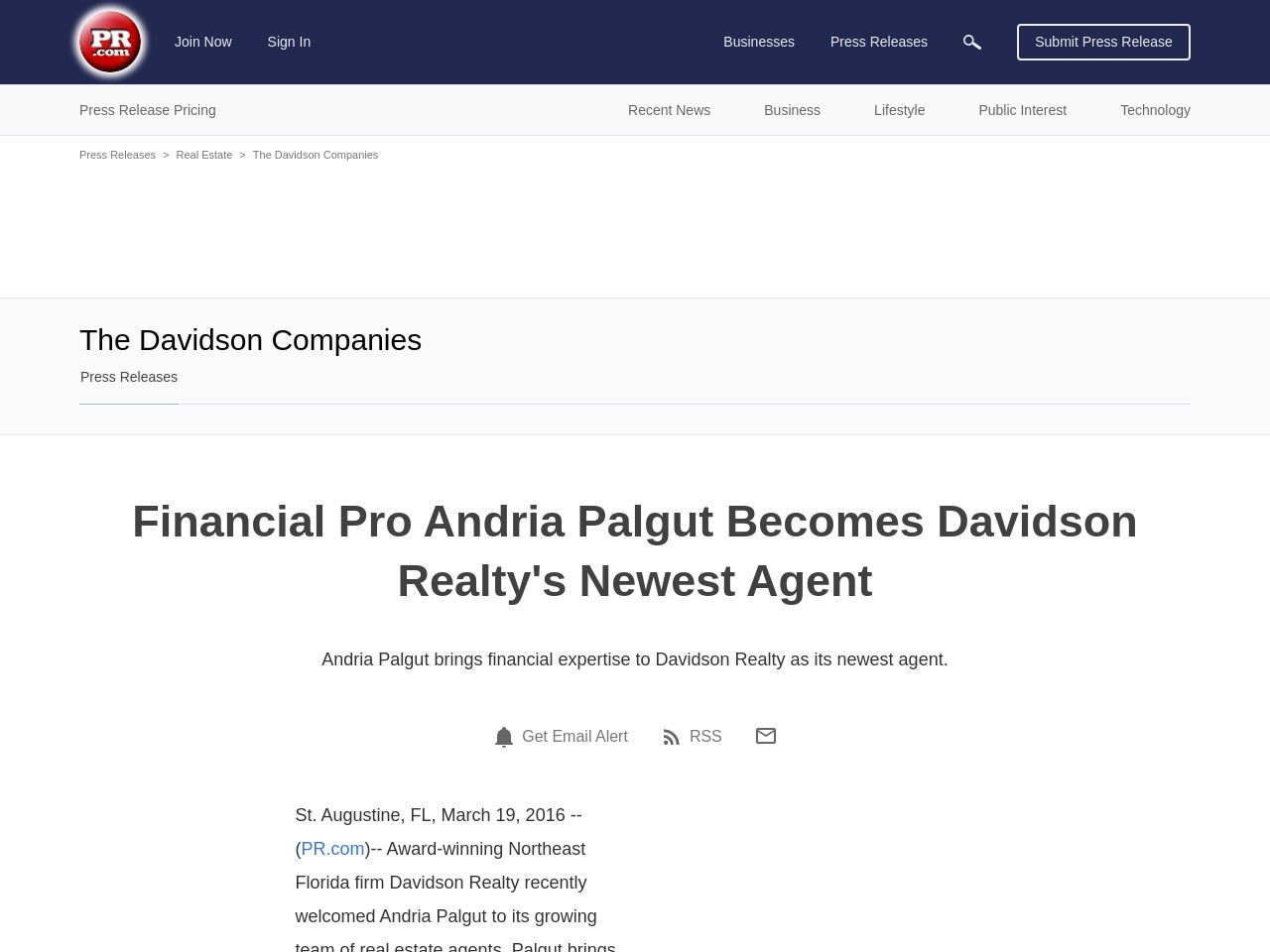 Financial Pro Andria Palgut Becomes Davidson Realty's Newest Agent