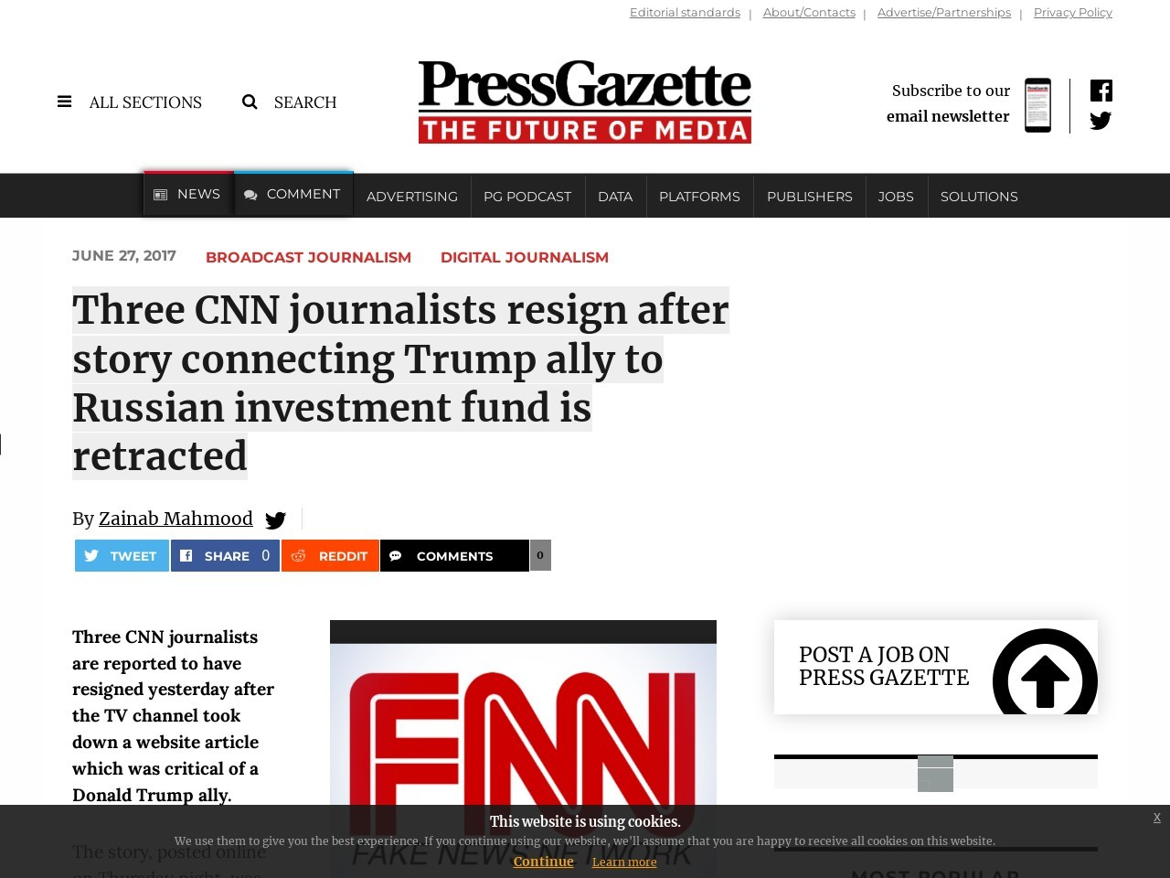 Three CNN journalists resign after story connecting Trump ally to Russian investment fund is retracted