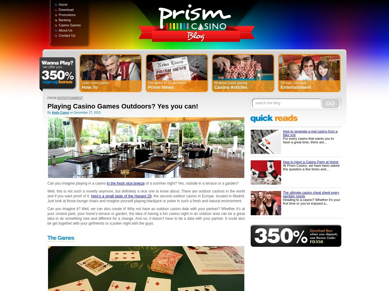 Playing Casino Games Outdoors? Yes you can! – Prism Casino Blog
