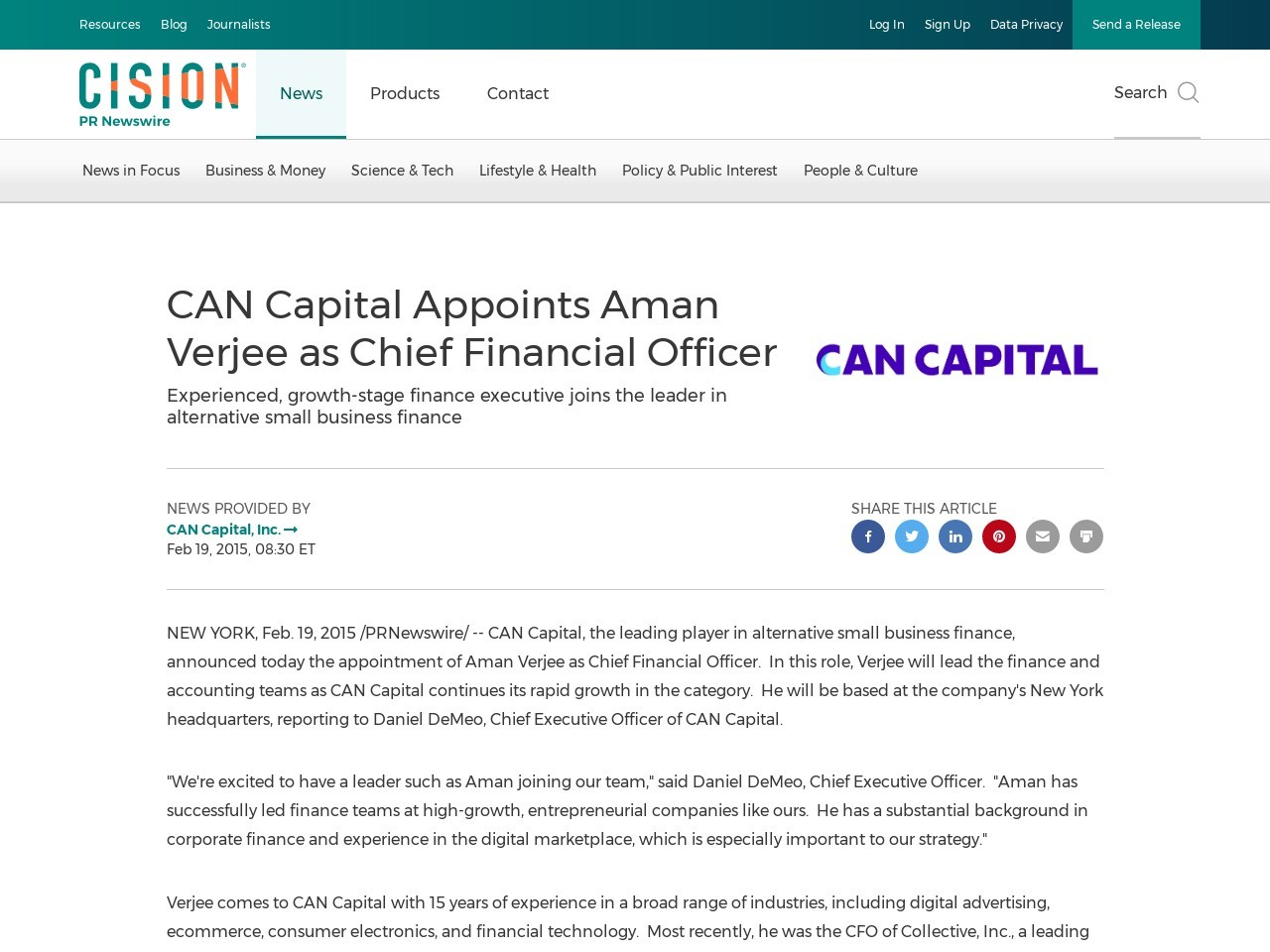 CAN Capital Appoints Aman Verjee as Chief Financial Officer