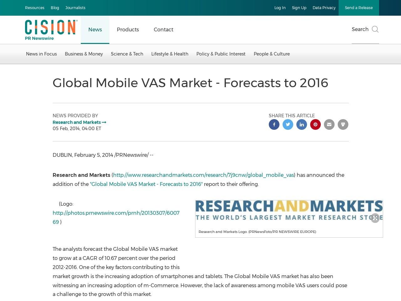 Global Mobile VAS Market – Forecasts to 2016