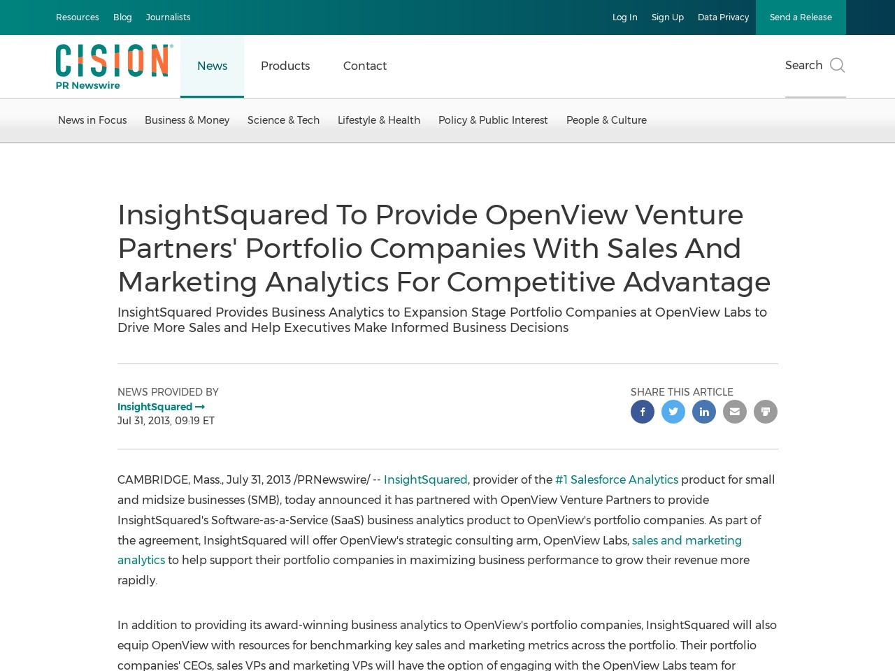 InsightSquared To Provide OpenView Venture Partners' Portfolio Companies …