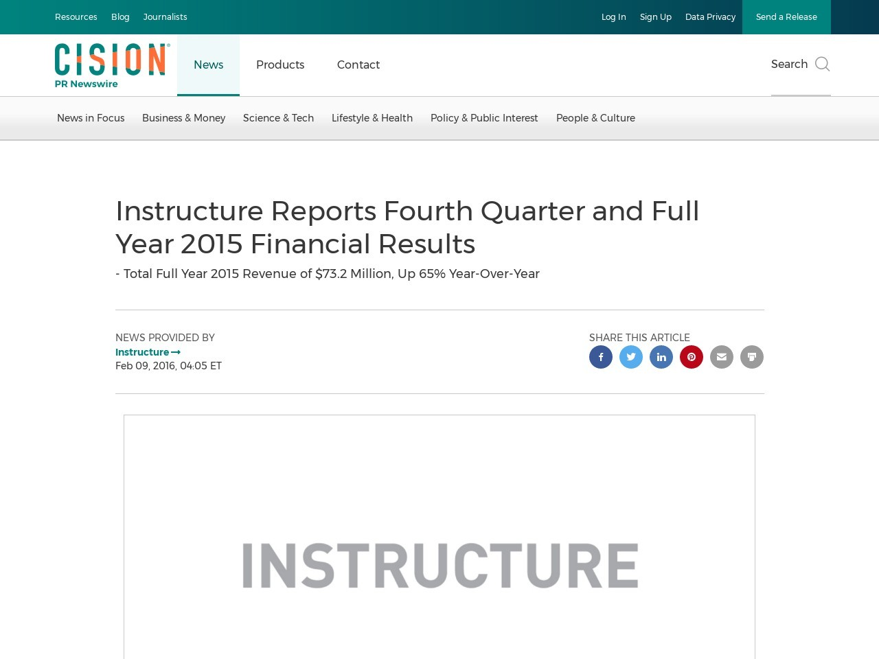 Instructure Reports Fourth Quarter and Full Year 2015 Financial Results