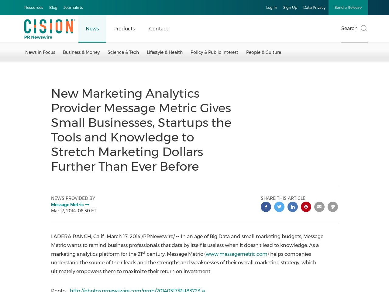 New Marketing Analytics Provider Message Metric Gives Small Businesses …