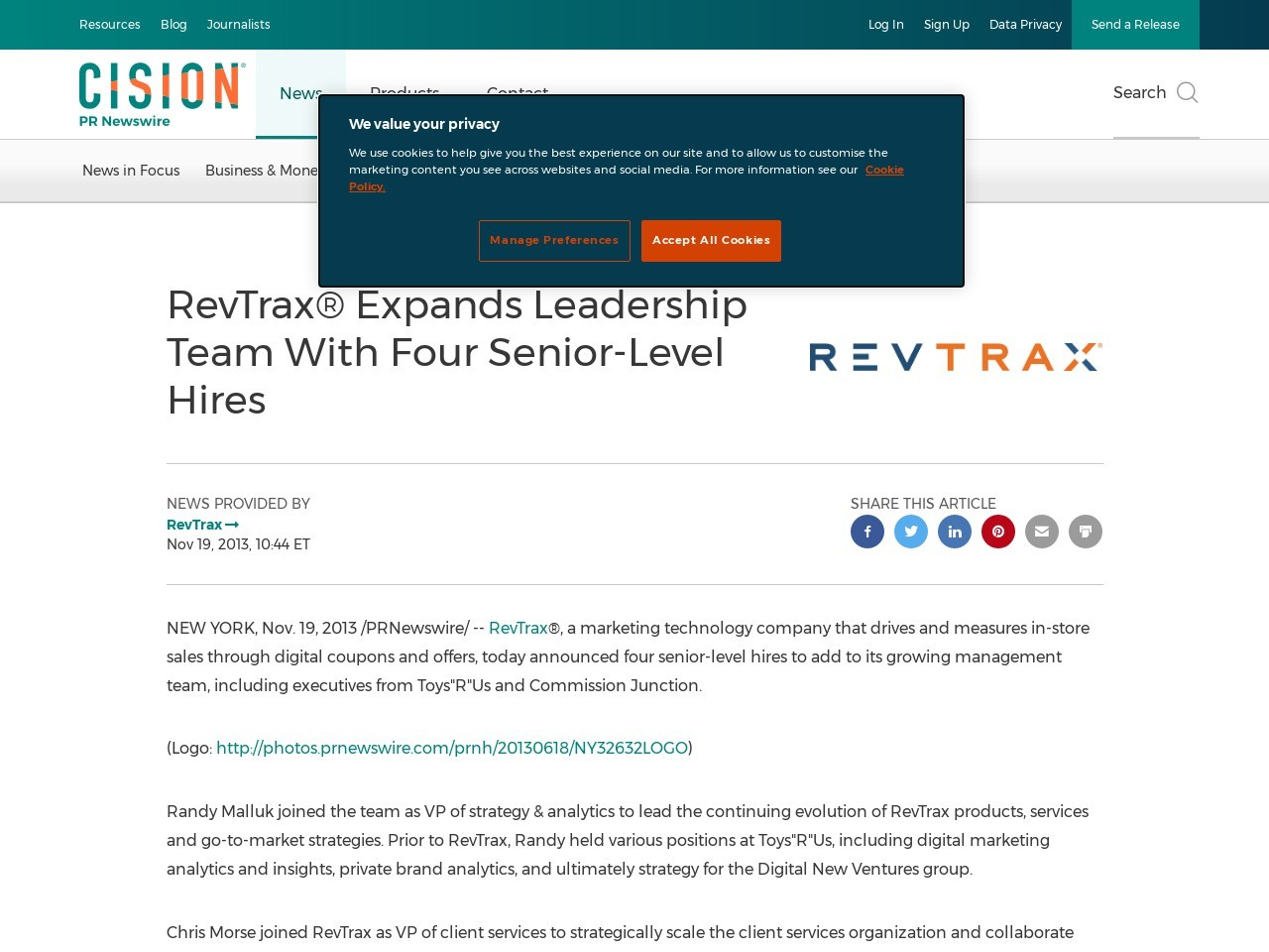 RevTrax® Expands Leadership Team With Four Senior-Level Hires