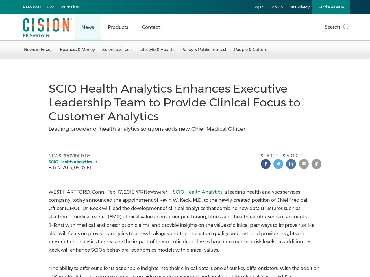 SCIO Health Analytics Enhances Executive Leadership Team to Provide Clinical …