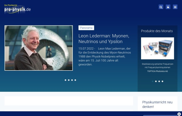 Vorschau von www.pro-physik.de, Pro-Physik.de