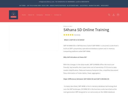 Proexcellency provides SAP S4HANA SD online training.