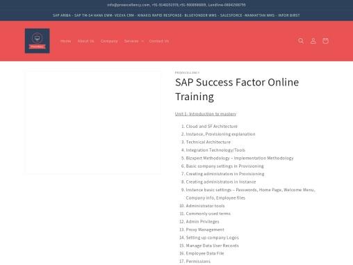 Proexcellency  provides Success Factor online training
