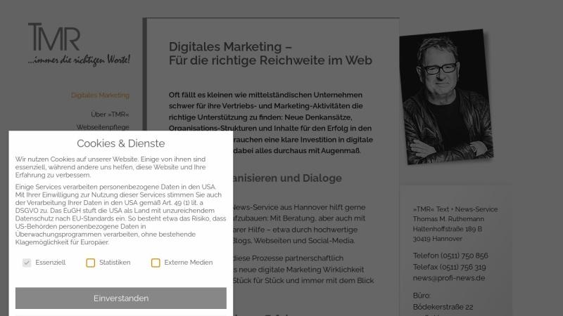 www.profi-news.de Vorschau, »TMR« Text + News-Service
