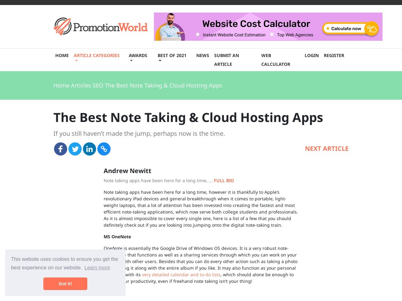 The Best Note Taking & Cloud Hosting Apps