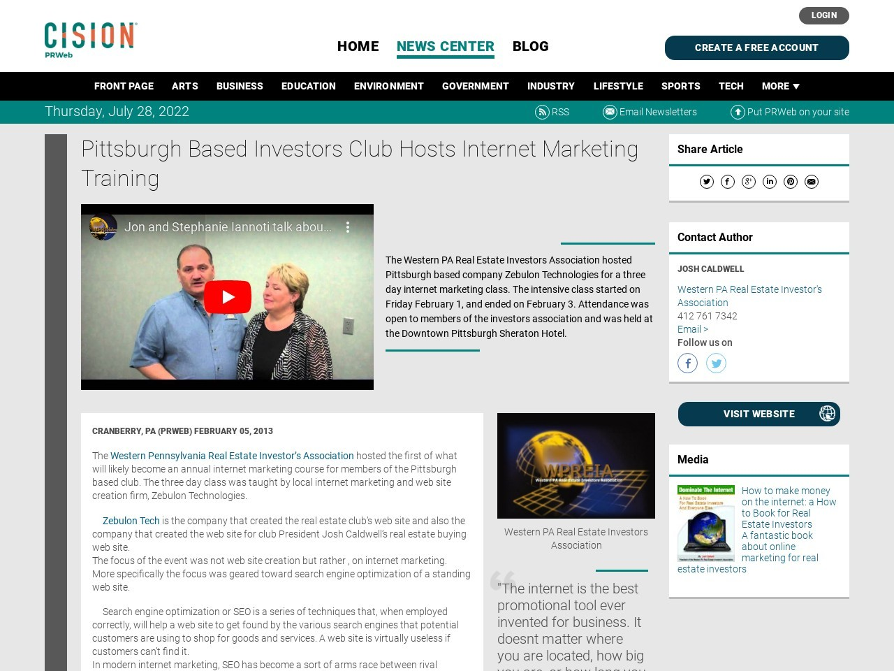 Pittsburgh Based Investors Club Hosts Internet Marketing Training