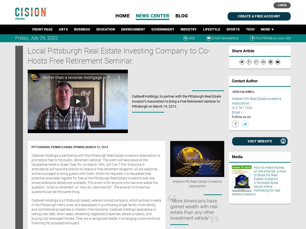 Local Pittsburgh Real Estate Investing Company to Co-Hosts Free Retirement …