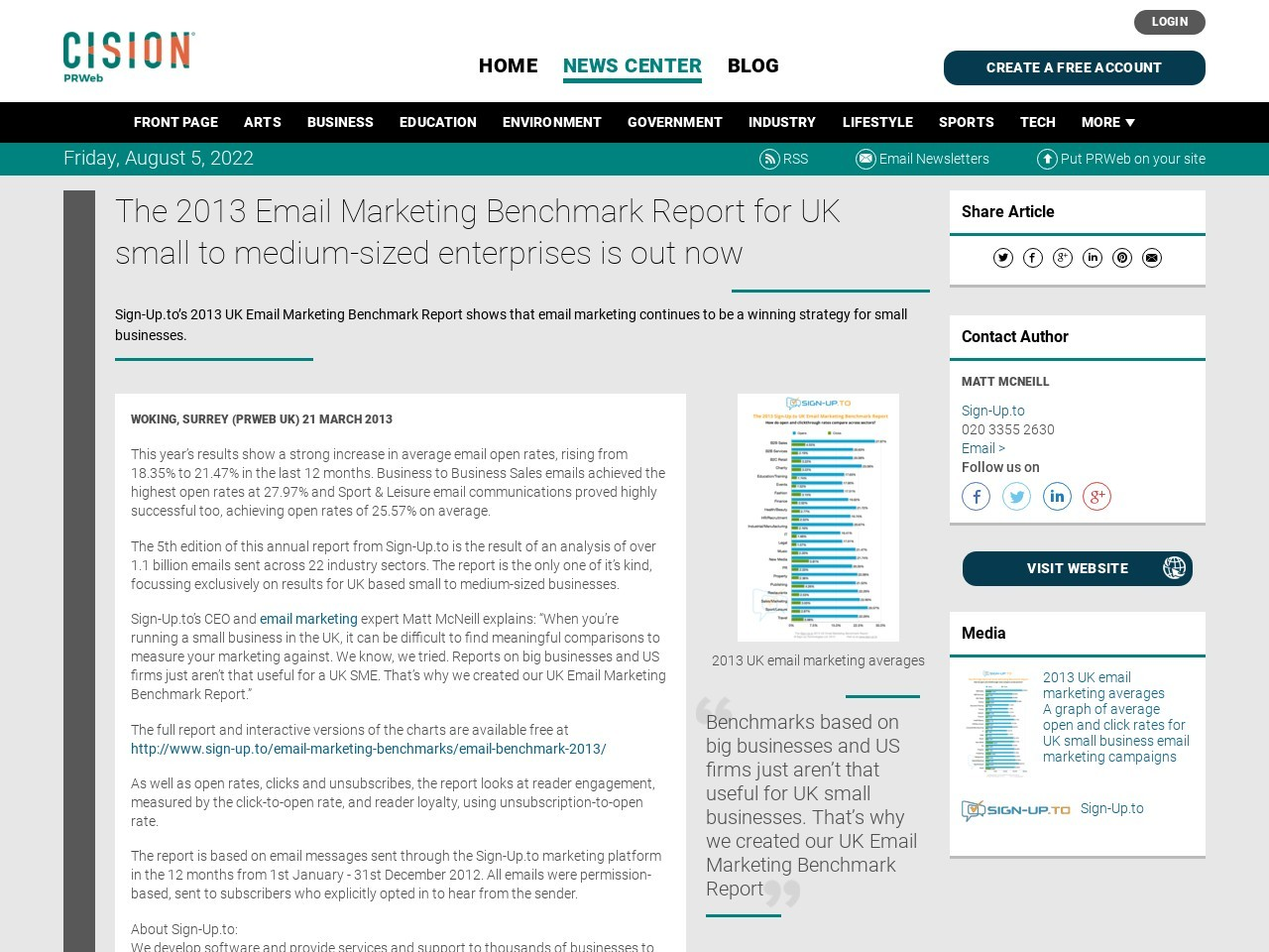 The 2013 Email Marketing Benchmark Report for UK small to medium-sized …