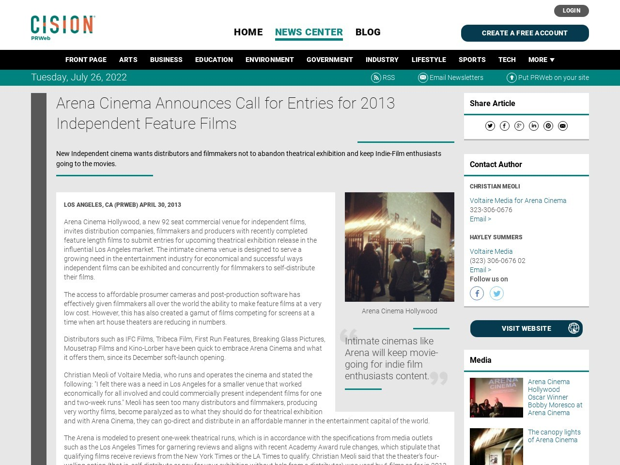 Arena Cinema Announces Call for Entries for 2013 Independent Feature Films