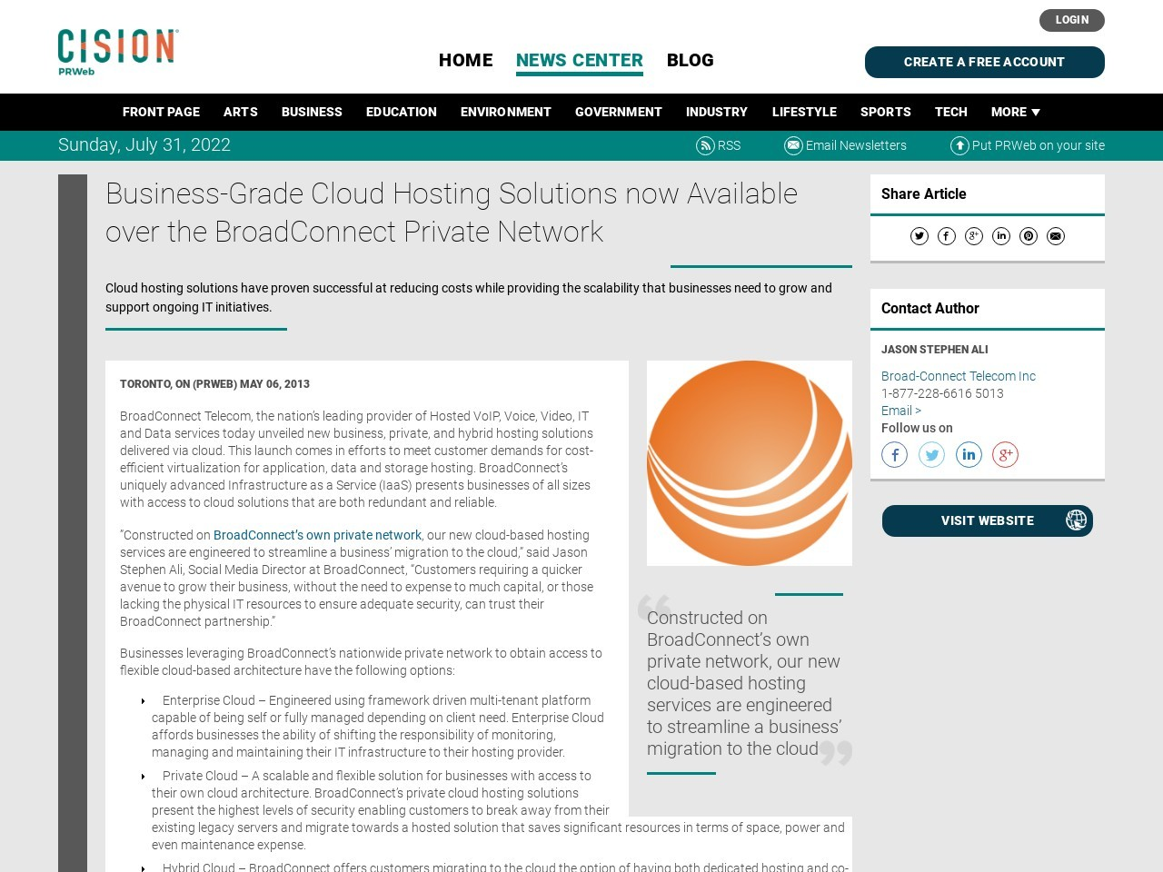 Business-Grade Cloud Hosting Solutions now Available over the BroadConnect …
