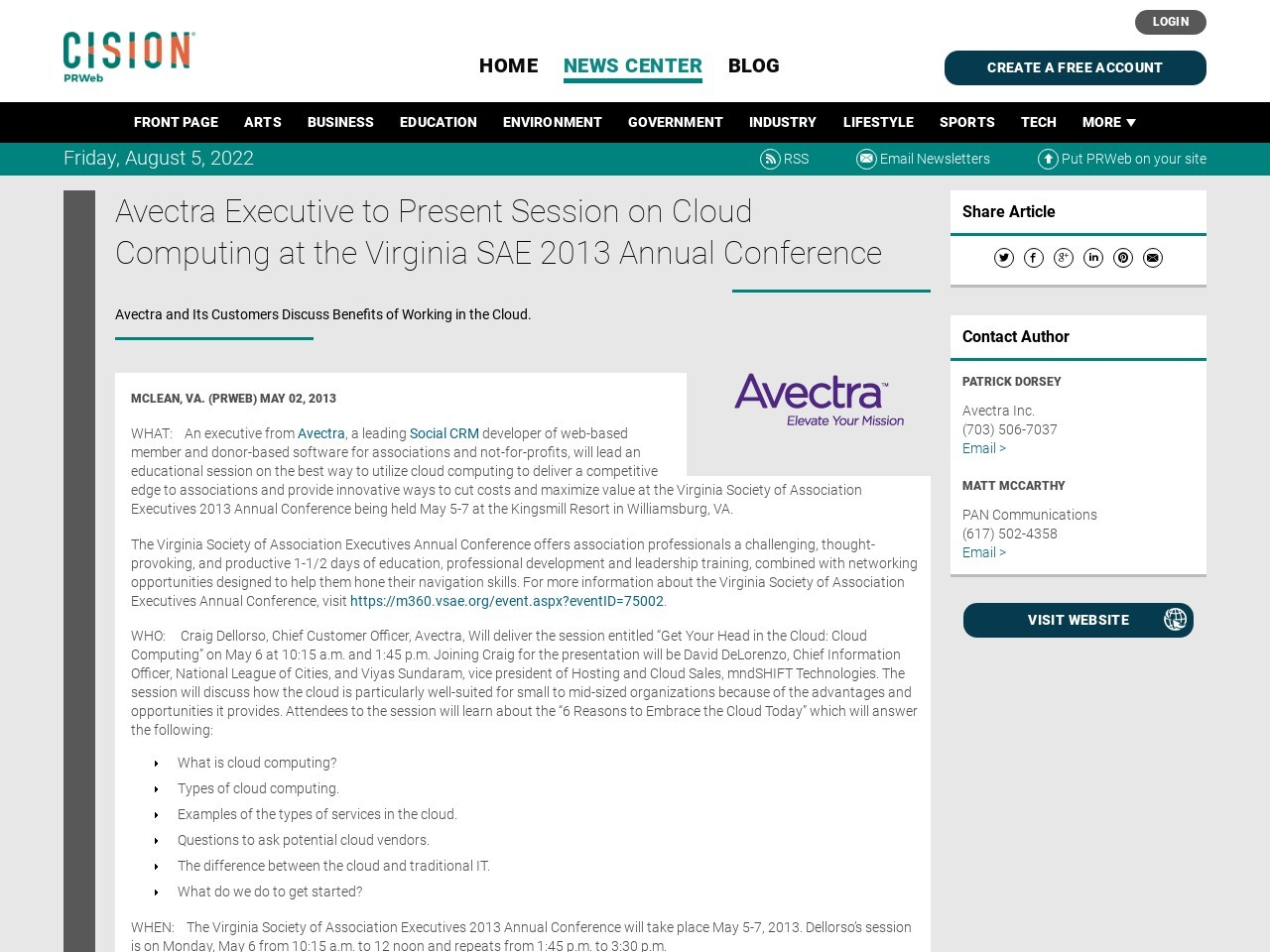 Avectra Executive to Present Session on Cloud Computing at the Virginia SAE …